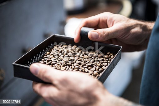Male worker in coffee roasting warehouse facility holding fresh coffee. Hands holding tray. Processing, production, manufacturing, industry, industrial.