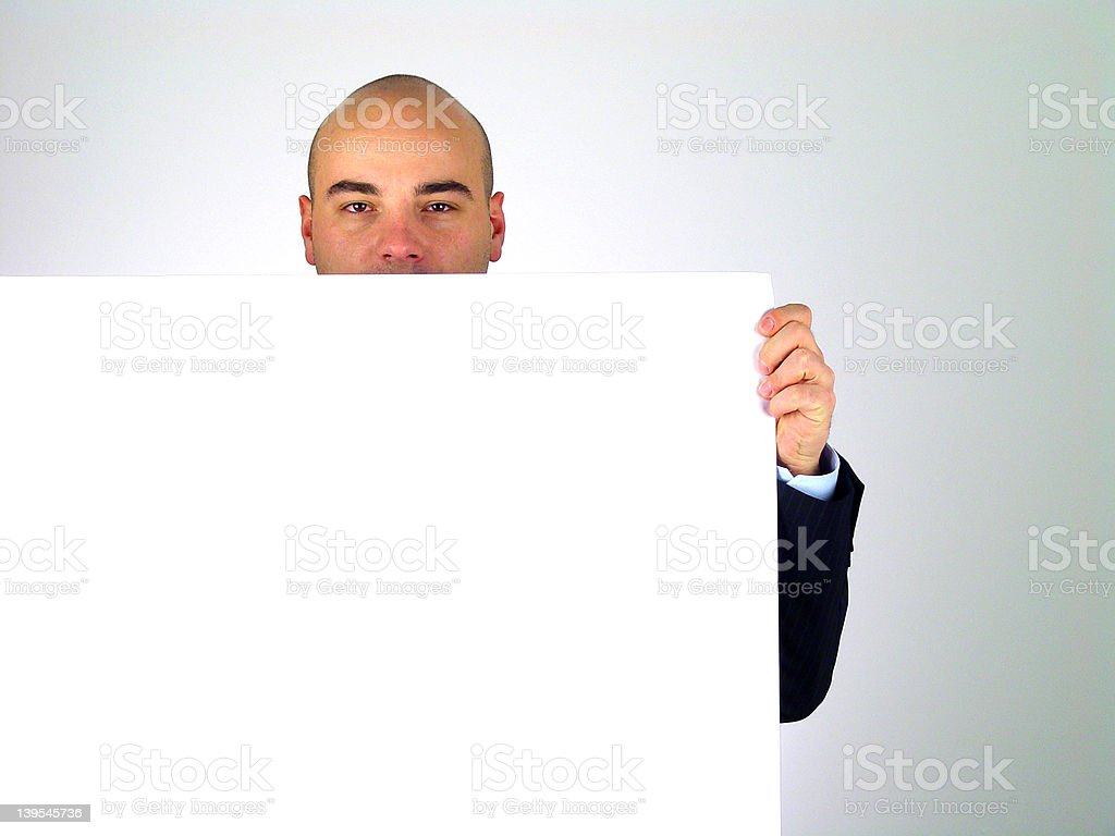 Man holding white card royalty-free stock photo
