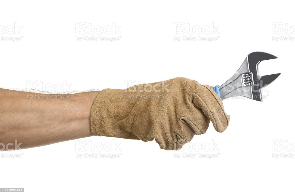Man holding Wrench on white royalty-free stock photo
