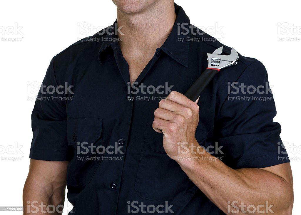 Man holding wrench royalty-free stock photo