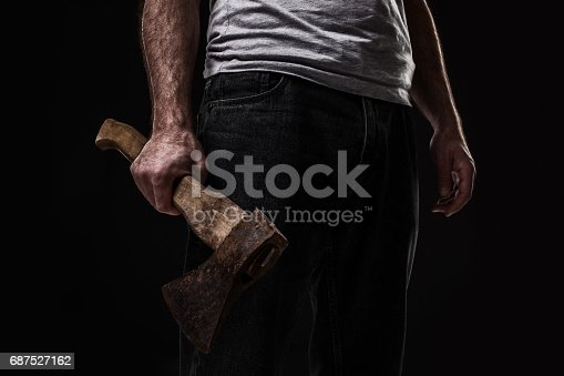 istock A man holds an ax in his hands against on black background 687527162
