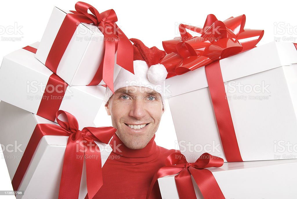 Man Holds Holiday Presents Red Bow White Background royalty-free stock photo