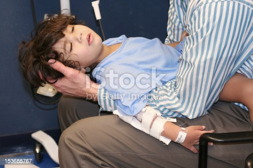 istock Man holds little boy in arms at ER 153688767