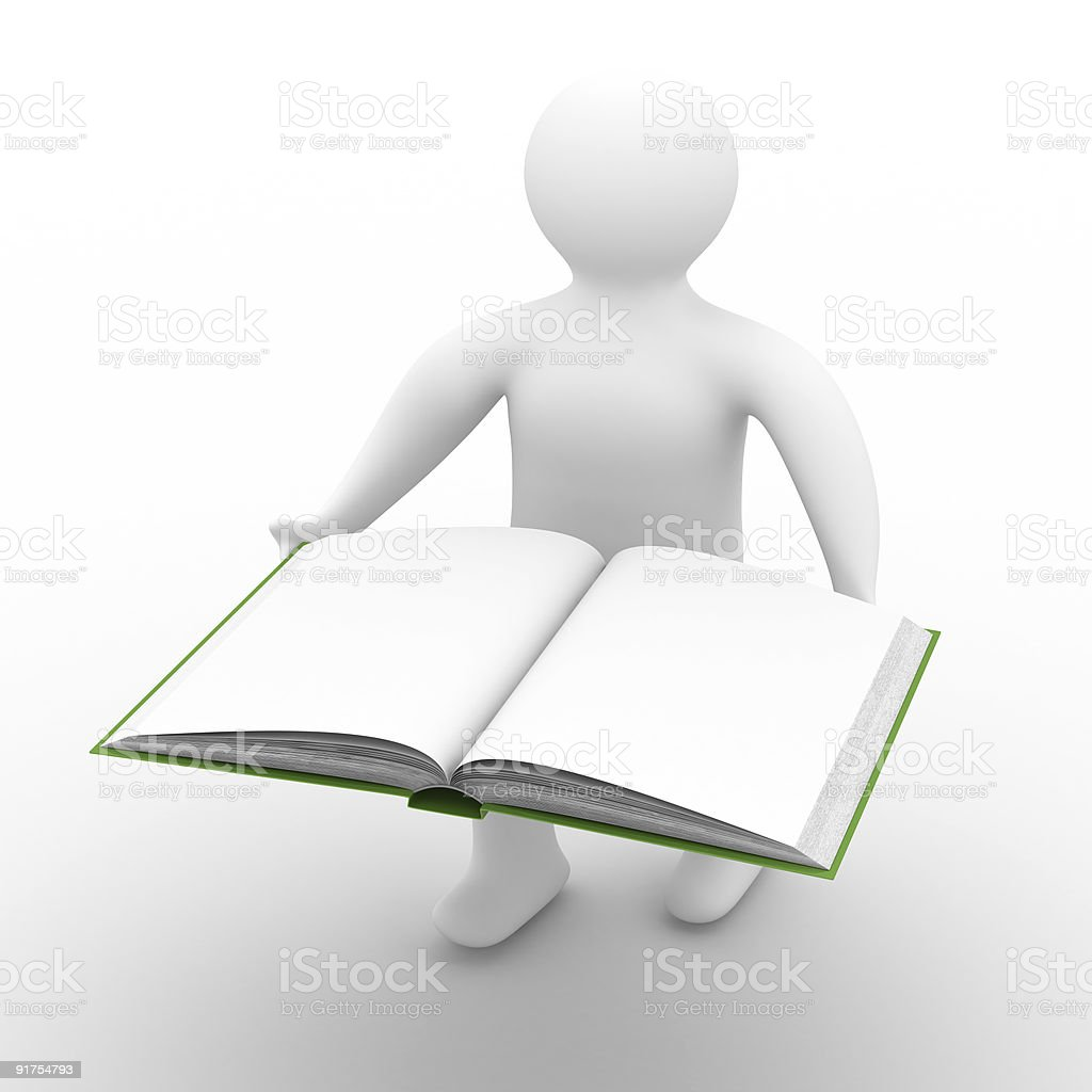 man holds open book on white background. Isolated 3D image royalty-free stock photo