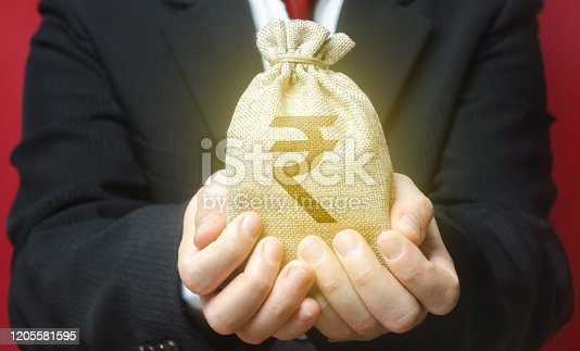 A man holds out a indian rupee money bag. Budget management, tax collection. Trade, economics. Granting financing business project or education. Provision cash financial loan credit. Bank deposit.