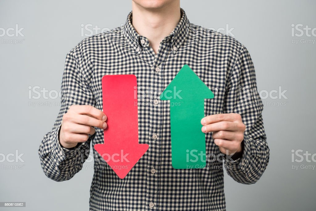 Man holds paper signs stock photo