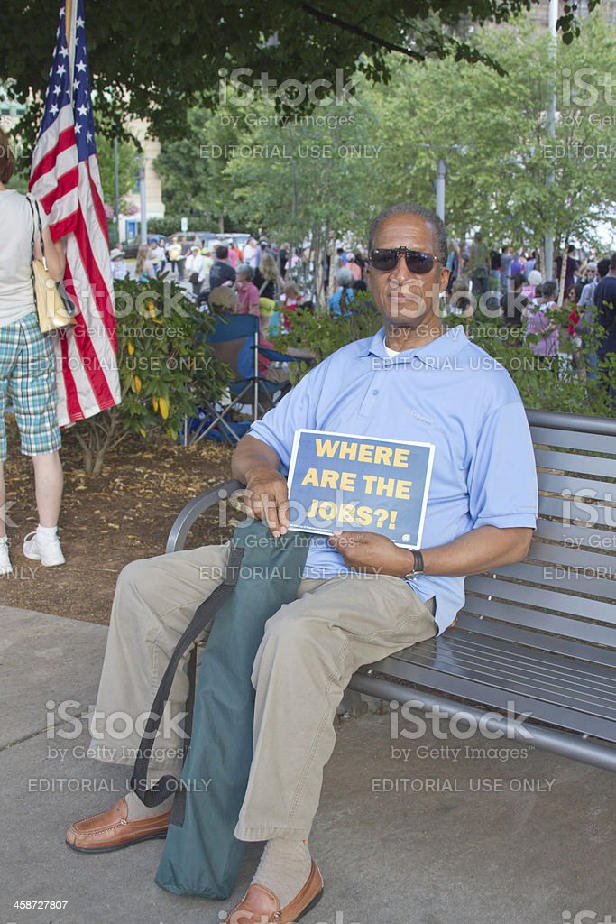 Man Holds Sign About Jobs At Moral Monday Rally royalty-free stock photo
