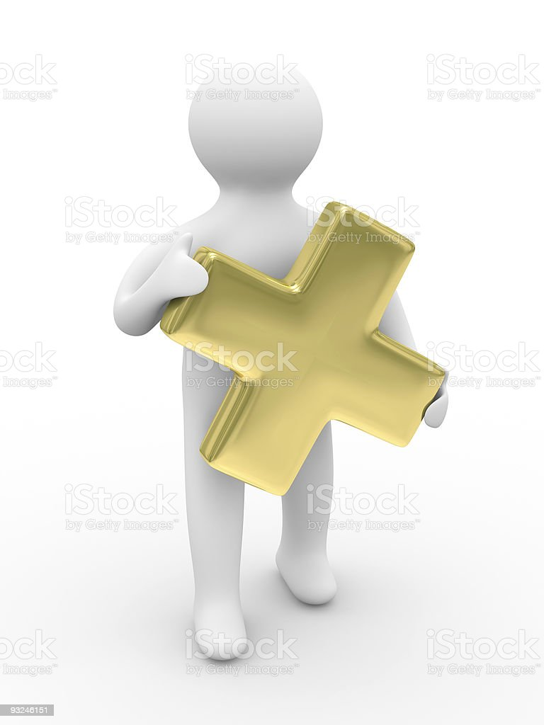 Man holds sign plus on white background. Isolated 3D image royalty-free stock photo