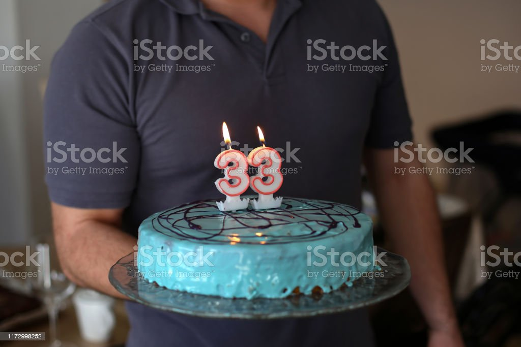 Super A Man Holds The Birthday Cake In His Hand Stock Photo Download Funny Birthday Cards Online Inifofree Goldxyz