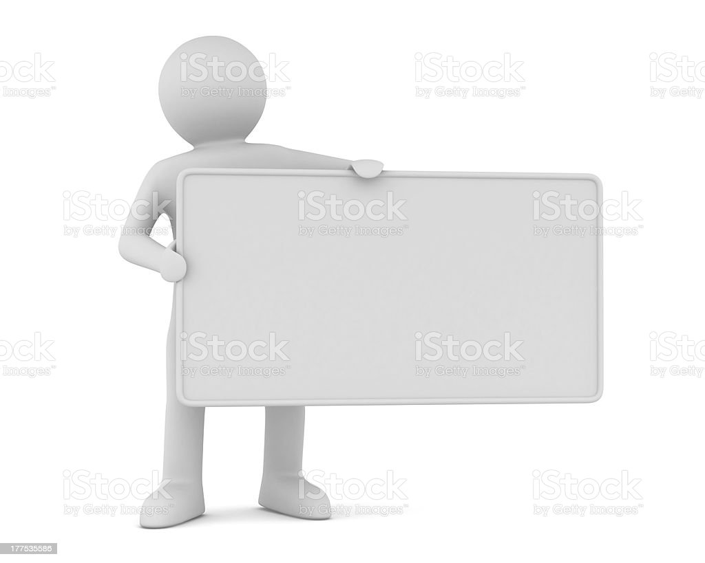 man holds the poster in a hand. 3D image royalty-free stock photo