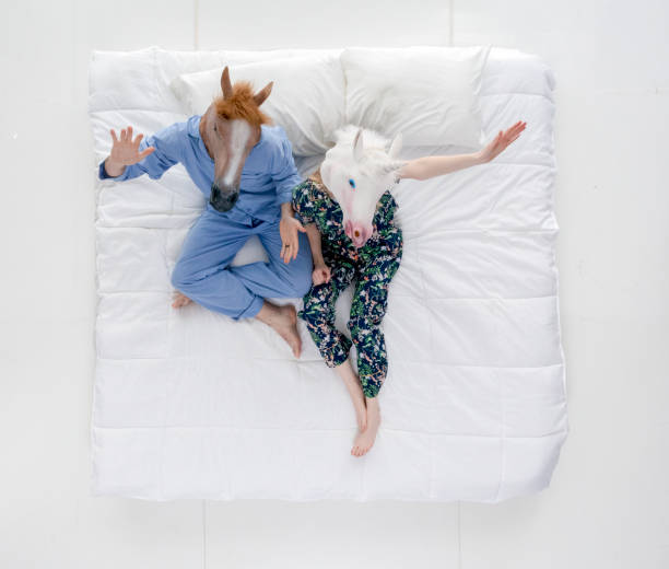 man horse with female unicorn in bed - unicorn bed imagens e fotografias de stock