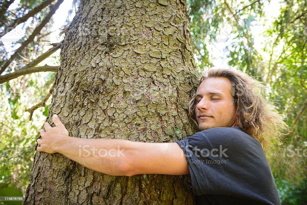 Man Hugs Tree royalty-free stock photo