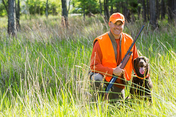 Man hunting with shotgun kneeling next to retriever Hunter kneeling on the ground in tall grass, smiling at the camera holding a shotgun.  His hunting dog, a brown labrador retriever, is sitting next to him.  He is wearing an orange safety vest. hunter stock pictures, royalty-free photos & images