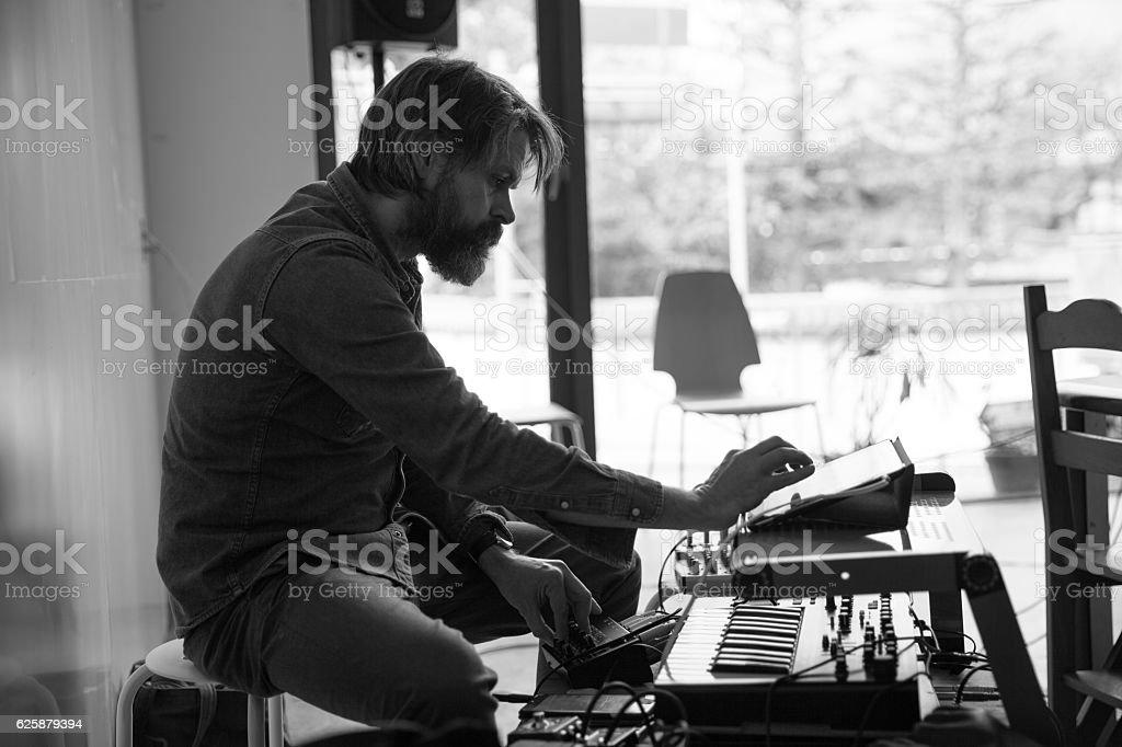 Man Improvising sound stock photo