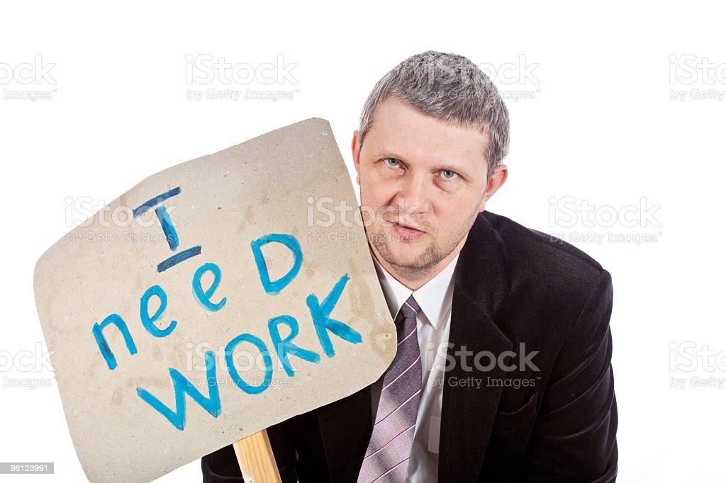 Man in a black coat needs job royalty-free stock photo