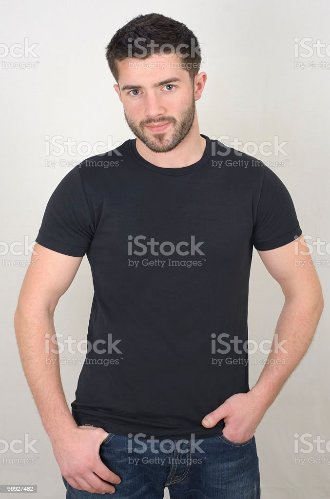 man in a black t-shirt royalty-free stock photo