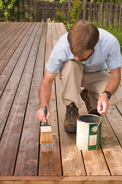 a man in a blue polo repainting his wood decking - houtbeits stockfoto's en -beelden