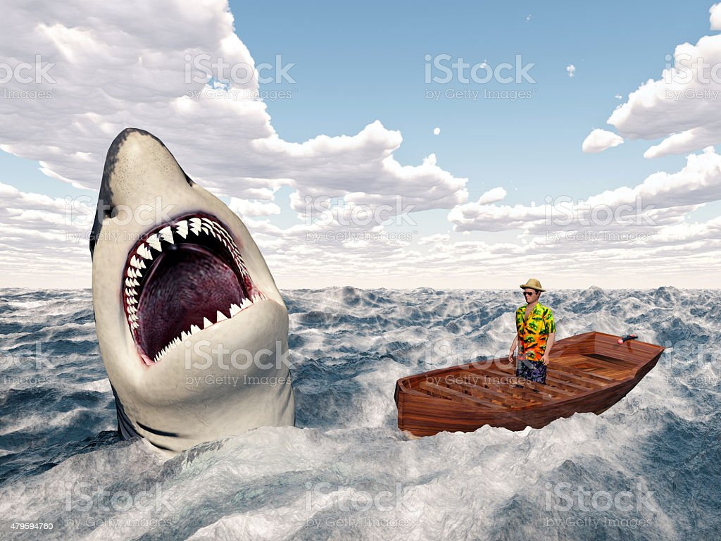 Man in a boat and great white shark stock photo