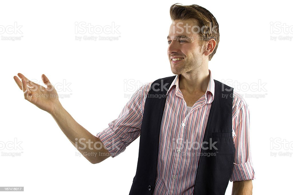Man in a Business Casual Outfit Presenting Gesture royalty-free stock photo