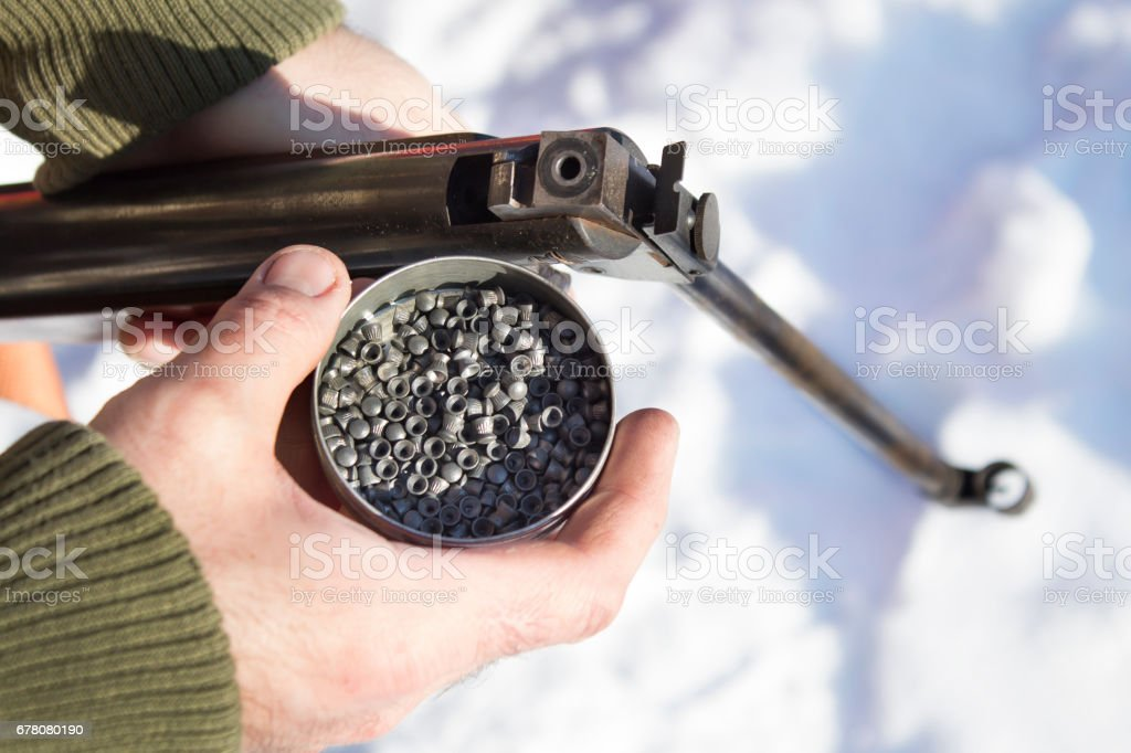 A man in a camouflage jacket holding a BB gun and a box of buckshot, ammunition. stock photo