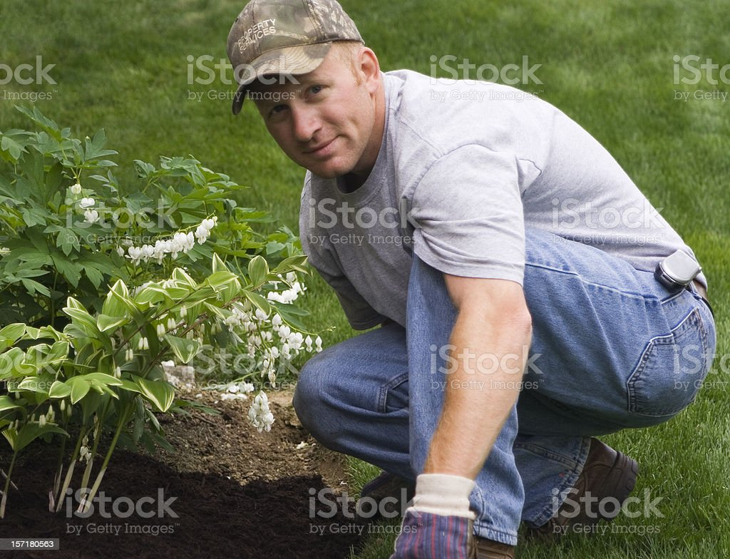 Man in a cap landscaping his garden royalty-free stock photo