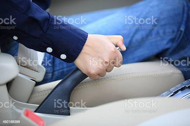Ziehen Der Handbremse Eines Autos Stockfoto und mehr Bilder von Ausrüstung und Geräte