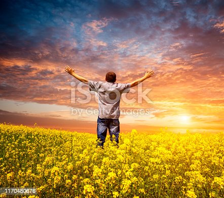 Man in a field with rape with his arms raised to the sky