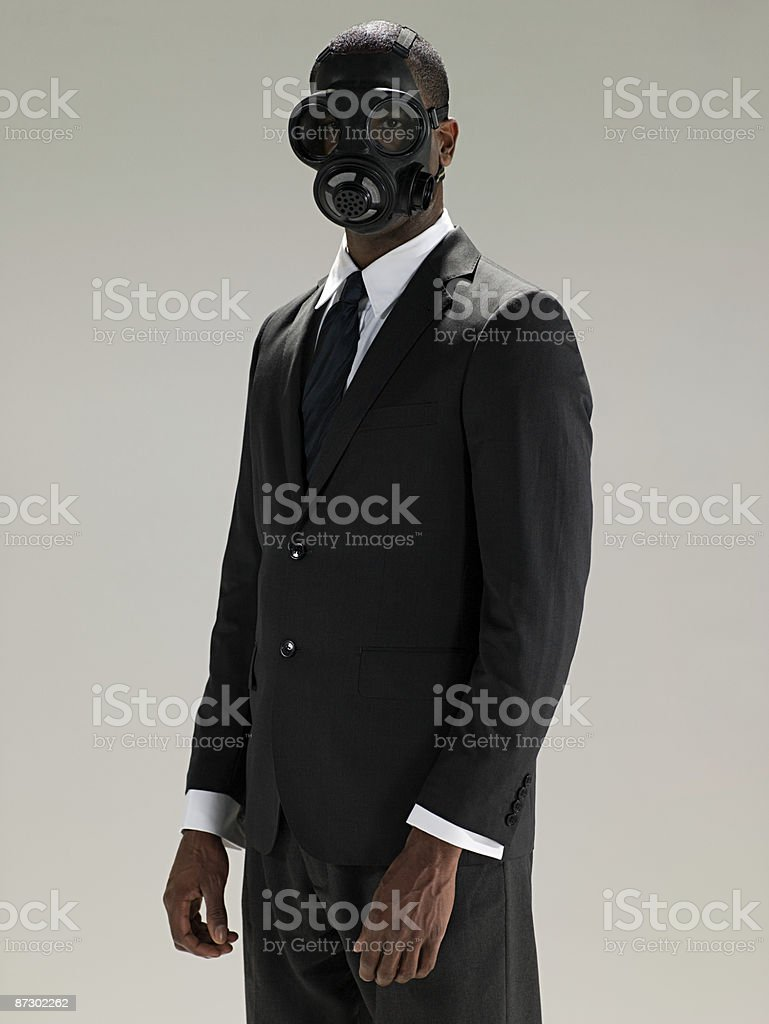 Man in a gas mask royalty-free stock photo