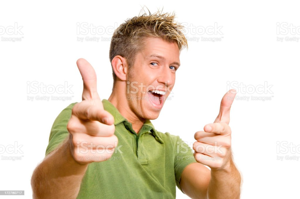 A man in a green shirt doing two thumbs up signs royalty-free stock photo