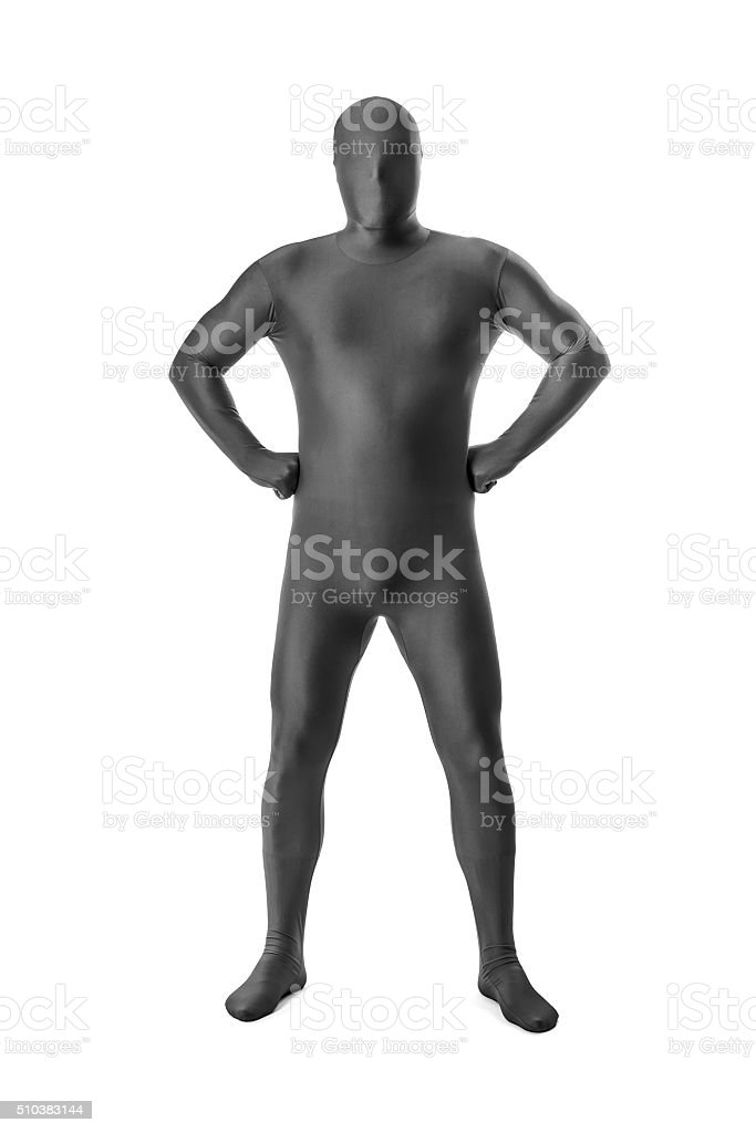 man in a grey body suit stock photo