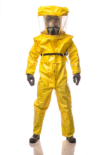 Man in a hazmat Suit stock photo