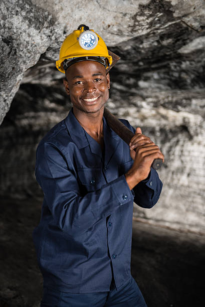 Man in a mine stock photo