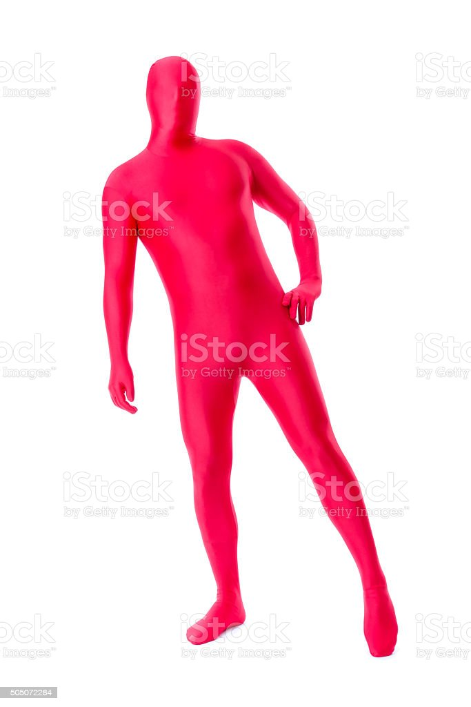 man in a red body suit stock photo