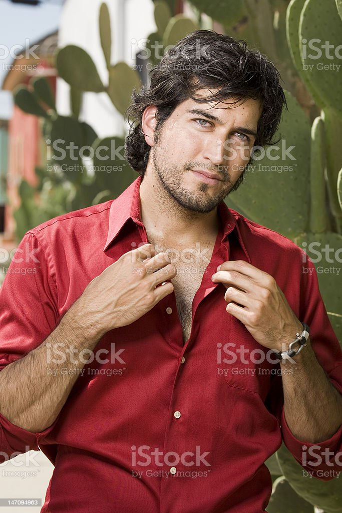 Man in a Red Shirt royalty-free stock photo