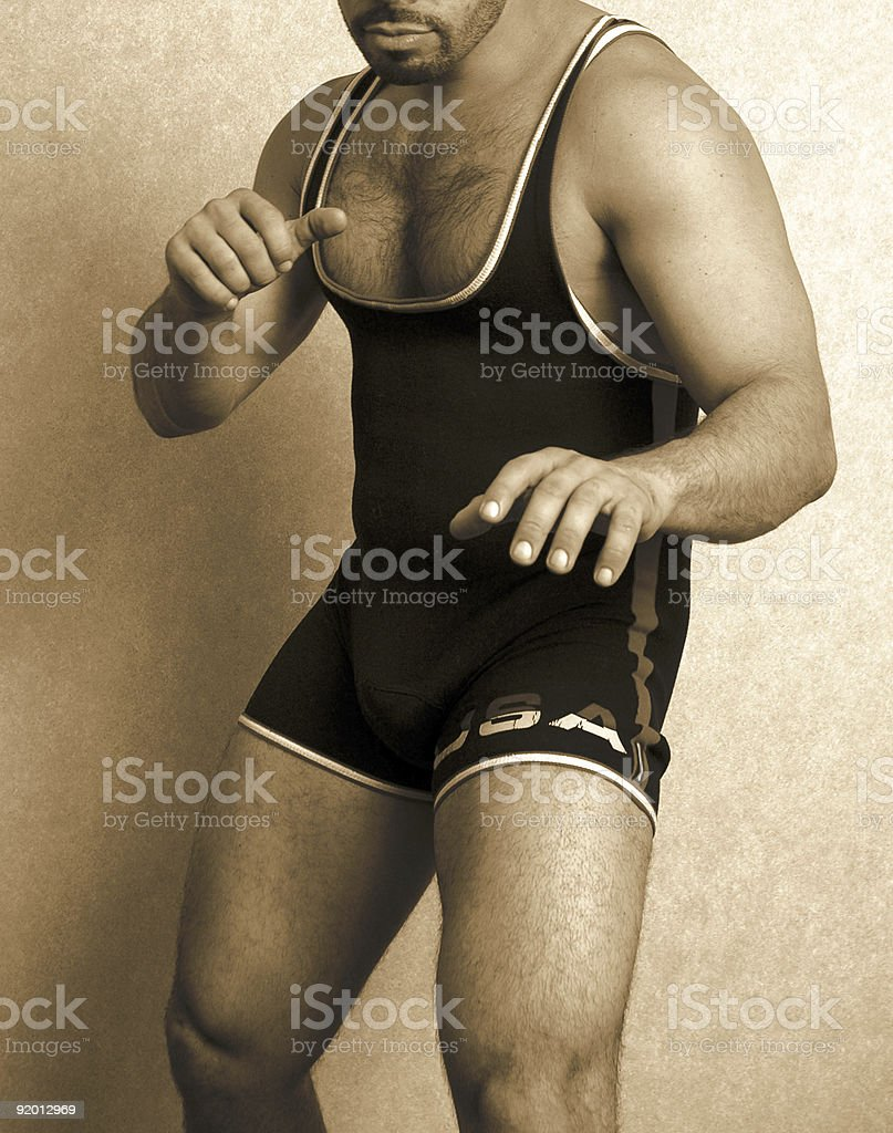 man in a singlet stock photo