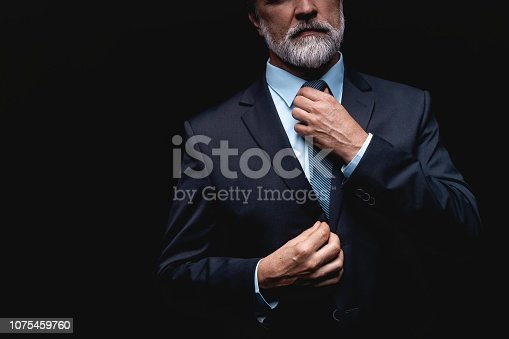 istock Man in a suit fixing his tie. 1075459760