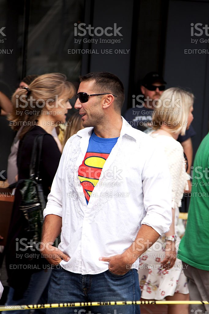Man in a Superman Tshirt royalty-free stock photo