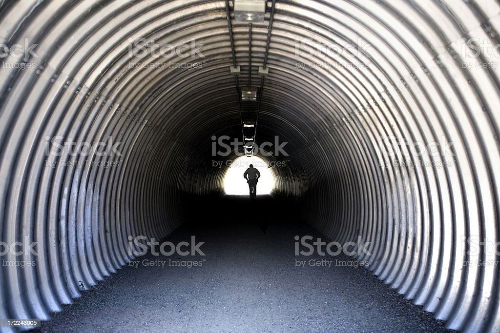 man in a tunnel royalty-free stock photo