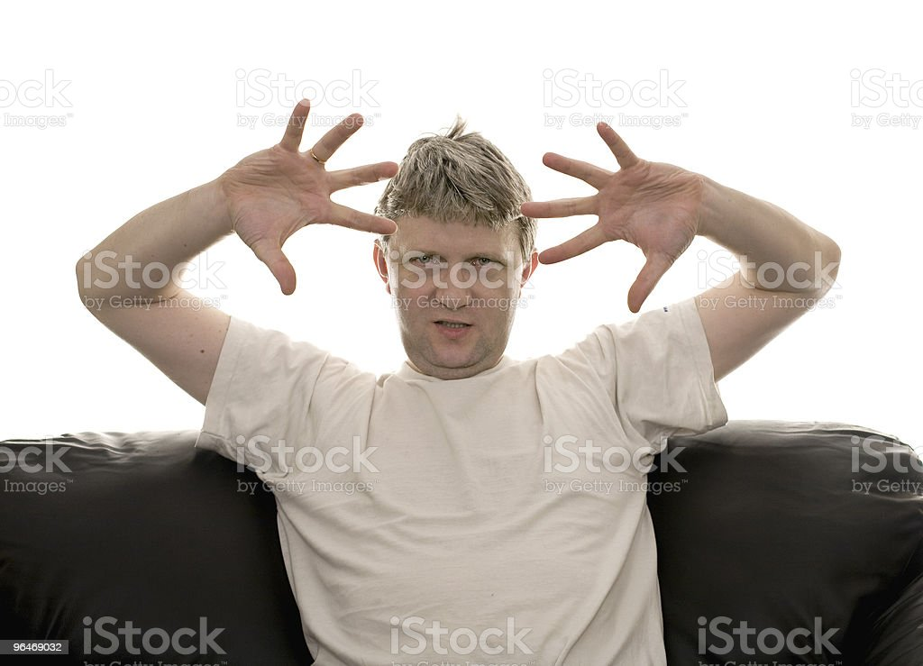 Man in a white T-shirt royalty-free stock photo