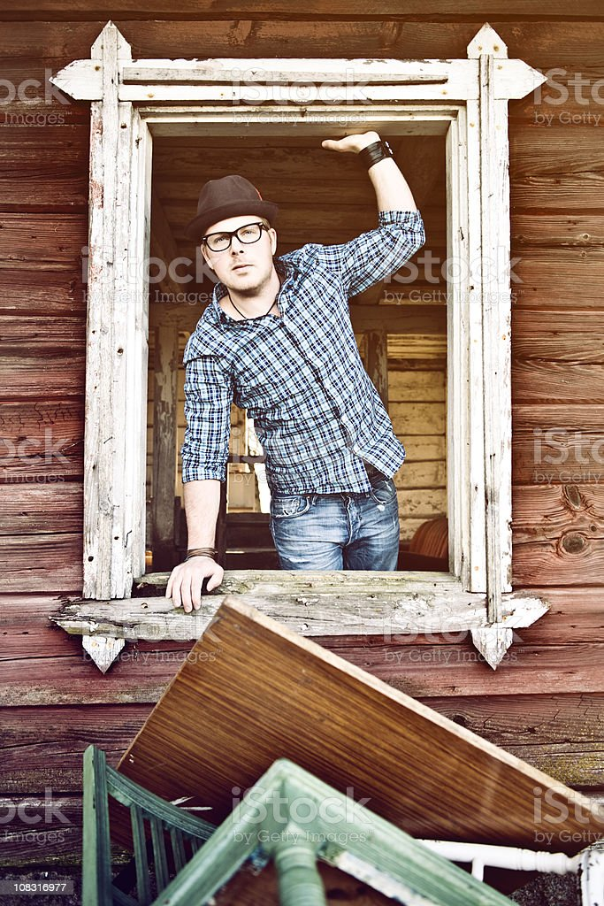 Man in a window royalty-free stock photo