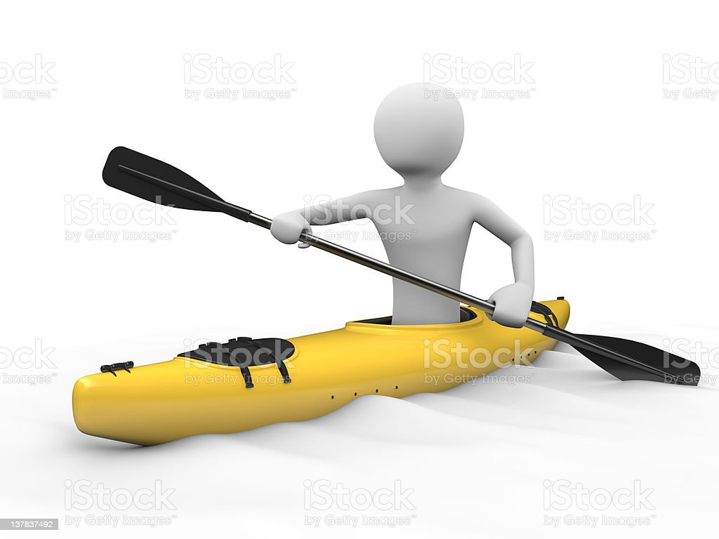Man in a yellow kayak royalty-free stock photo
