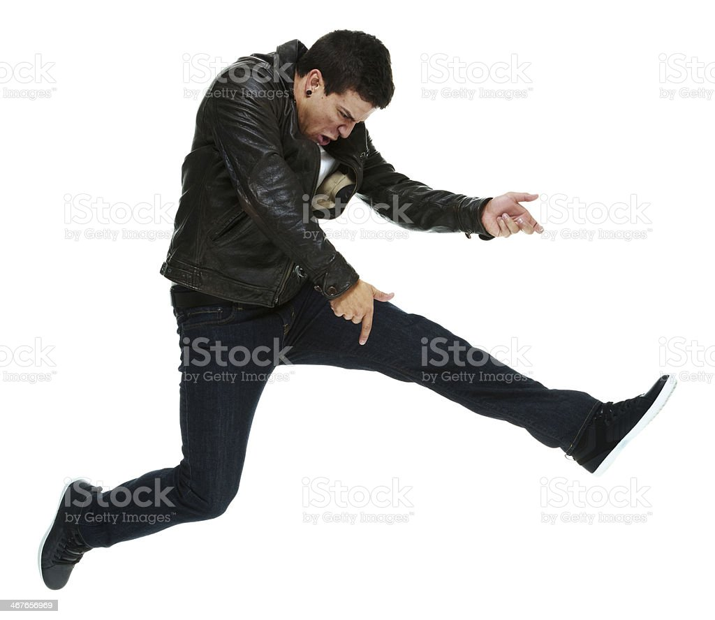 Man in action with air guitar stock photo