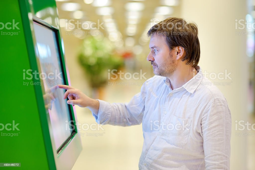 Man in airport stock photo