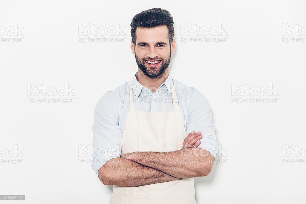 Man in apron. stock photo