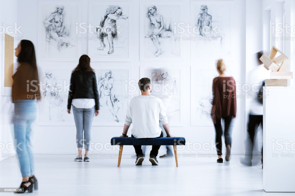 Man in art center stock photo