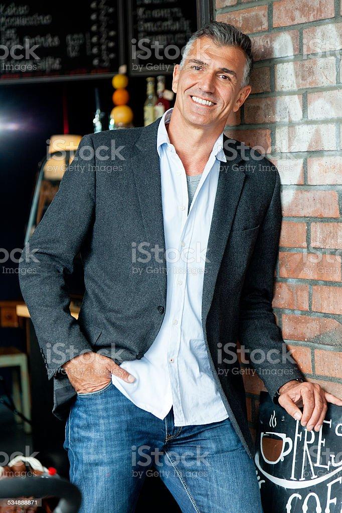 man in bistro stock photo