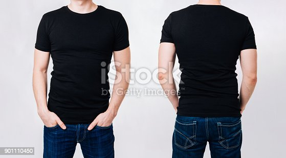 956902000 istock photo Man in black blank tshirt on gray background 901110450