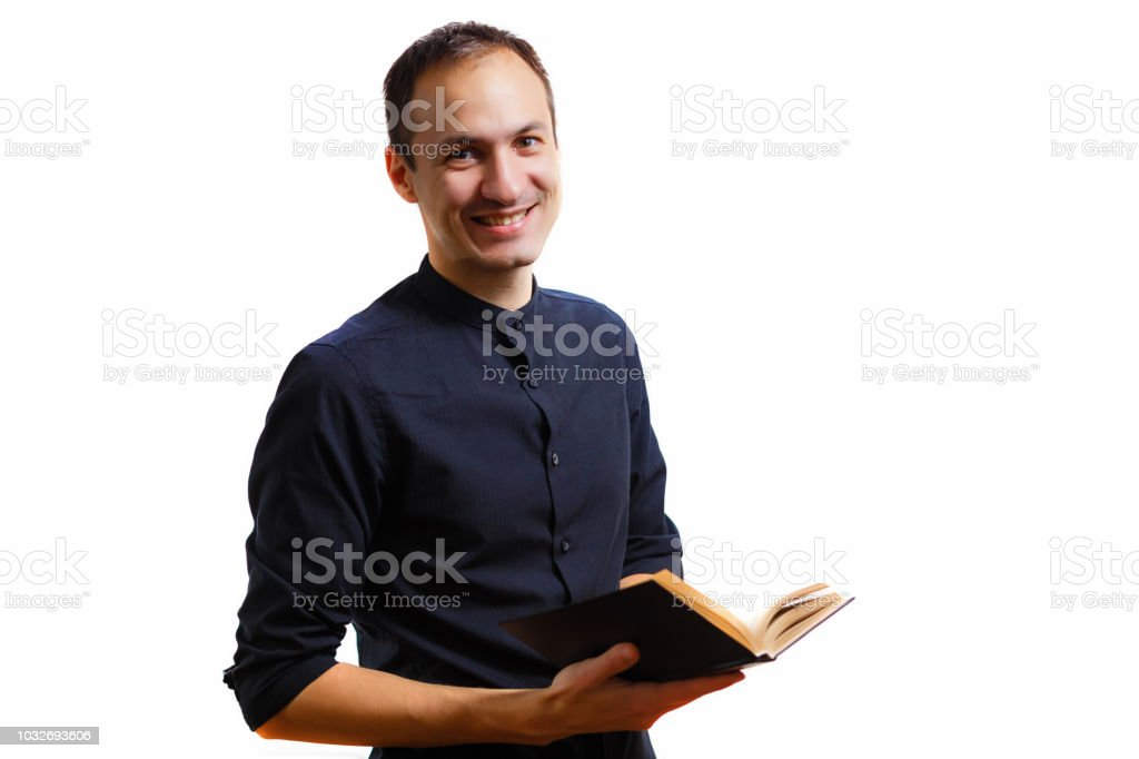 man in black book stock photo