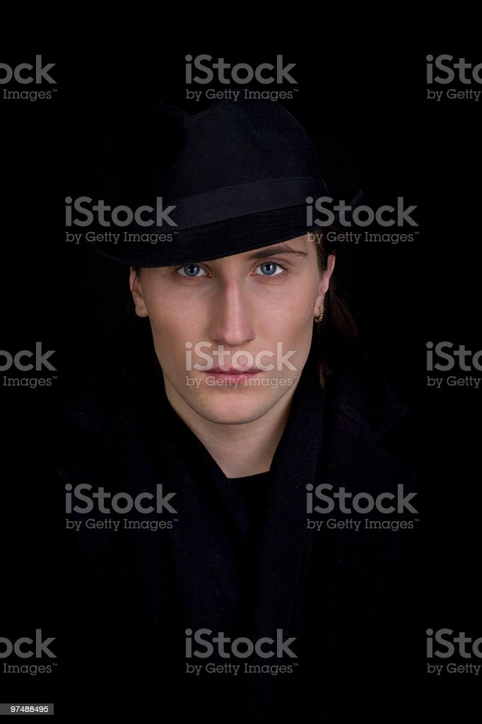 Man in black hat look at you royalty-free stock photo