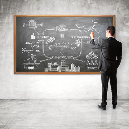 istock Man in black suit drawing out business plan on chalkboard 470611196